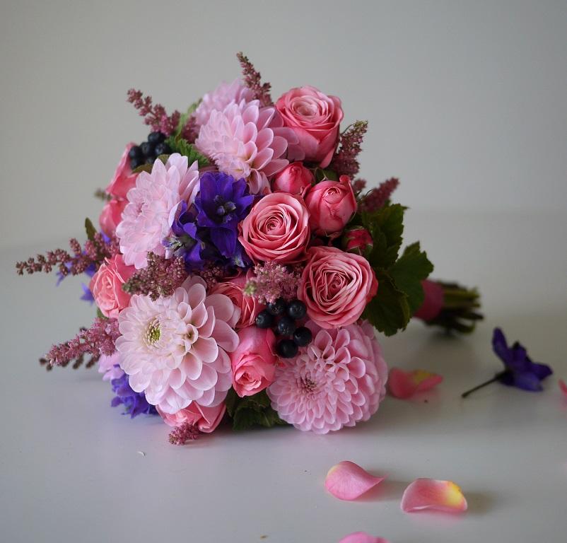 dahlia, rose, delphiniums, astilbe,