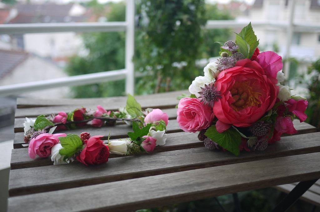 pivoine, pois de senteur, rose, mure, framboisier, astrantia, lisianthus,