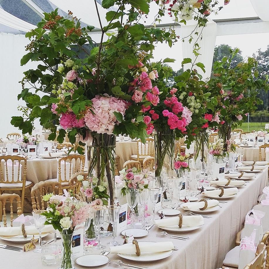 pivoine, rose, hortensia, lisianthus, astrantia, scabieuse, pois de senteur,
