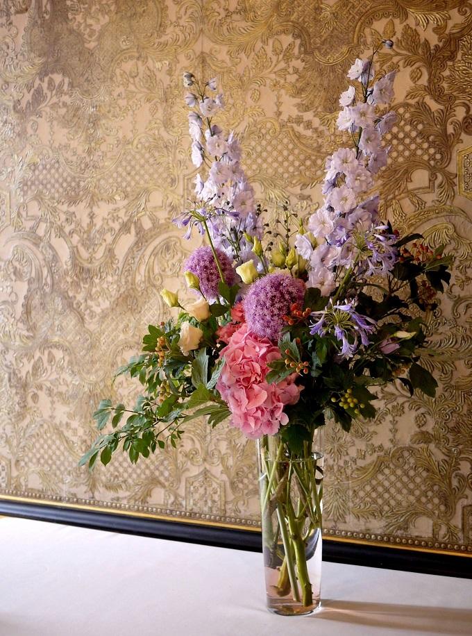 delphiniums, agapanthes, hortensia, lisianthus,