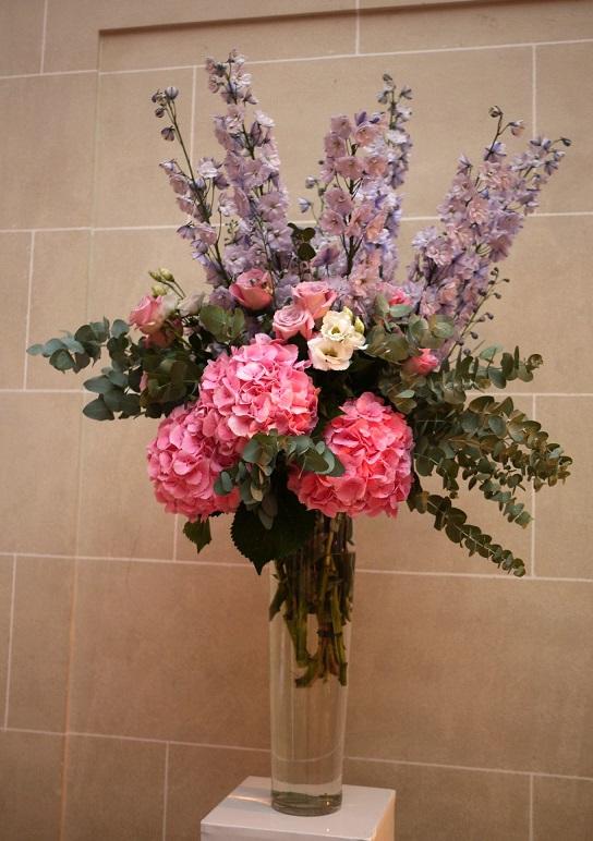 rose, lisianthus, delphiniums, hortensia,