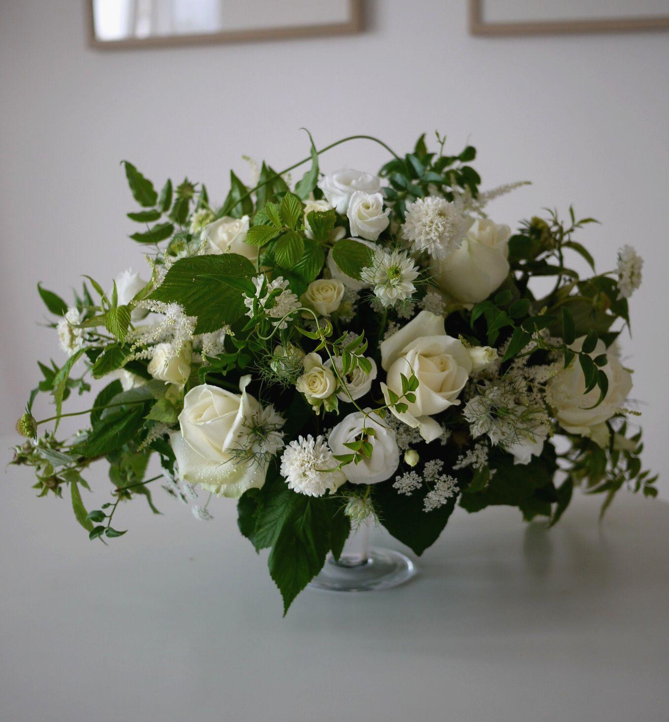 astilbe, framboisier, jasmin, lisianthus, rose, scabieuse