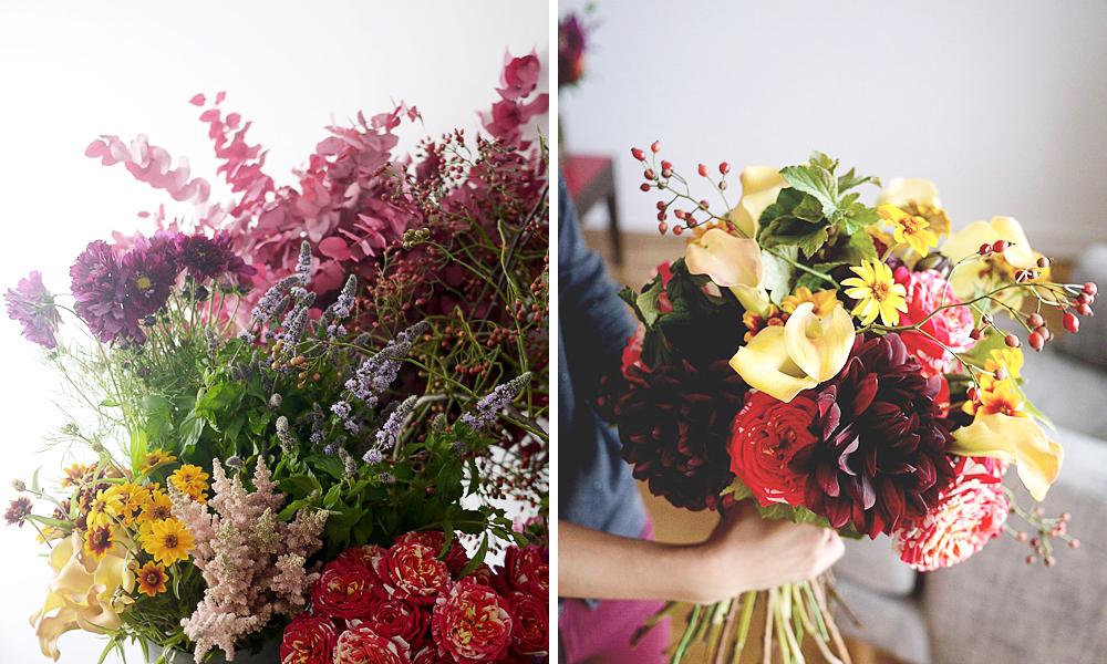 バラとダリアと木の実の花束