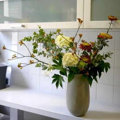 chrysanthème, hortensia, eucalyptus,