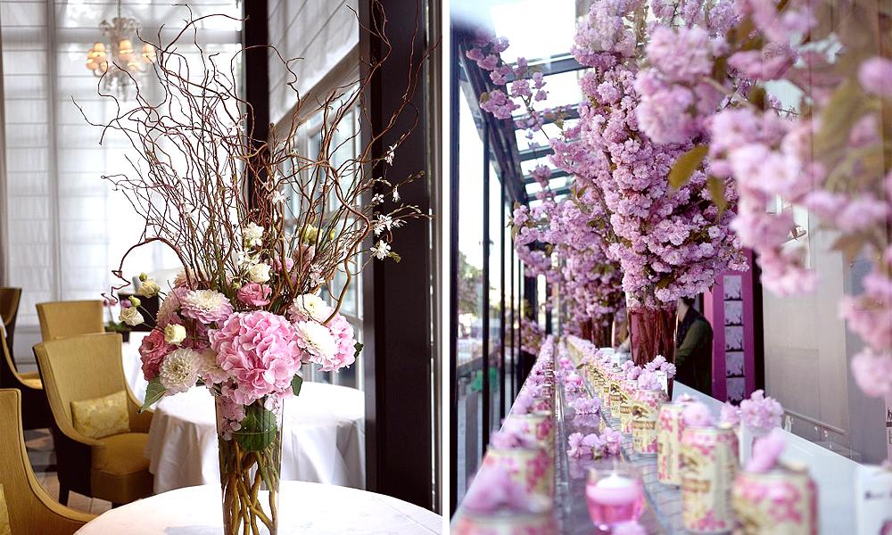 composition florale avec cerisiers