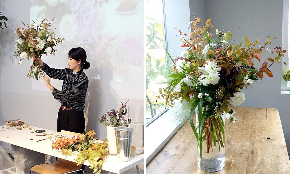 cours art floral pour un bouquet japonais