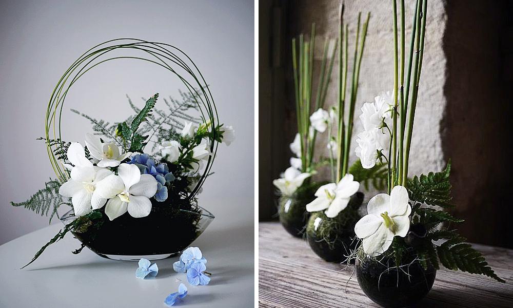 composition wafuka avec orchidée blanc